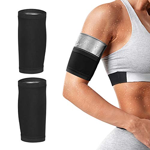 Rhino Valley Sweat Arm Trimmers, Sweat Arm Slimming Bands for Men and Women, Heat-Increase Sweat-Promotion for Weight Loss, Sauna Arm Shaper Wraps Arm Trainer for Sport Workout, S/M, Silver Lining