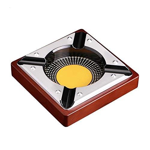 ZXL Asbak sigaarasbak 18 cm verguld roestvrij staal creatieve asbak van massief hout tafeldecoratie salontafel salontafel asbak