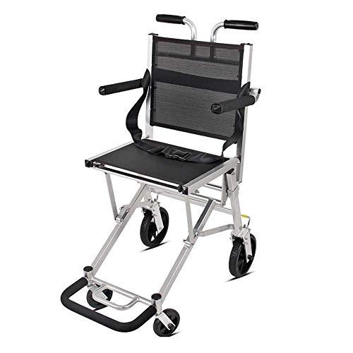 Gpzj Rollstuhl, zusammenklappbar Leichte Aluminium-Rollstuhlbremse Älterer Behinderter-Reisewagen, zusammenklappbar - 49 26 66 cm, Gewicht - 6,4 kg