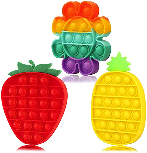 HVKLHNF Push Bubble Gadget Silicone Squeeze Sensory Toys ADHD Autism Toy Focus Tool Sunflower Strawberry Pineapple Shape(Color:Color)