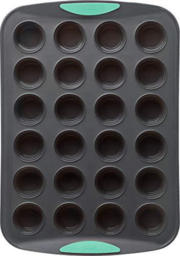 Trudeau Structure Silicone Muffin Pan, 24 Cup Mini, Grey/Mint