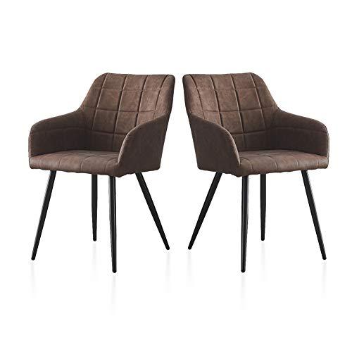 TUKAILAI 2 PCS Sillas de comedor de cuero sintético retro marrón PU Sillas de recepción Sillas de sala de estar