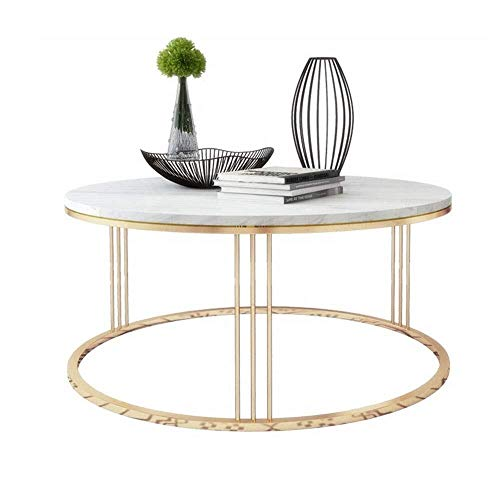 BHJqsy Nordic Tisch, runder Couchtisch, Marmor-Beistelltisch, Weiß/Gold, 19,6'/ 17,7' Schachteln