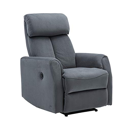 Carkoci Power Recliner Chair, Velvet Fabric Electric Recliner Chair, Overstuffed Heavy Duty Home Theater Seating, Reclining Single Sofa, Bedroom Living Room Chair Power Recliner Sofa (Gray)