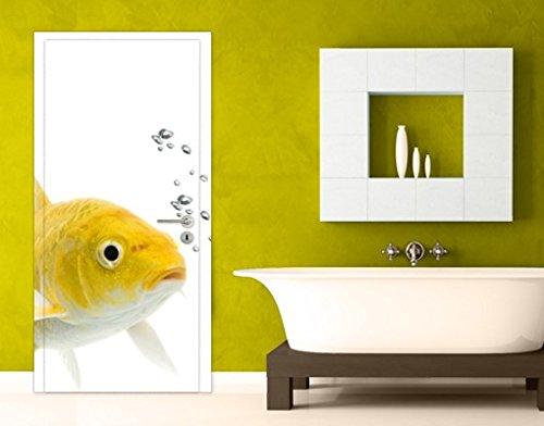 TürTapete Goldfisch Gelb Fische Aquarium Korallen Meer Asien, Größe:S - 81x221cm;Größe:0cm x 0cm