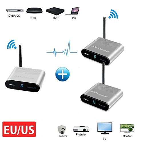 Wireless AV Sender MEASY AV550-8 AV Sender 1 Transmitter 8 Receiver 8 Channel up to 500m//1650 feet with Anttena IR Remote for Monitor,CCTV Camera RCA Extender