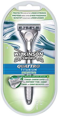 Wilkinson Rasoio Quattro Titanium Sensitive con 1 Quadrilama - 110 gr