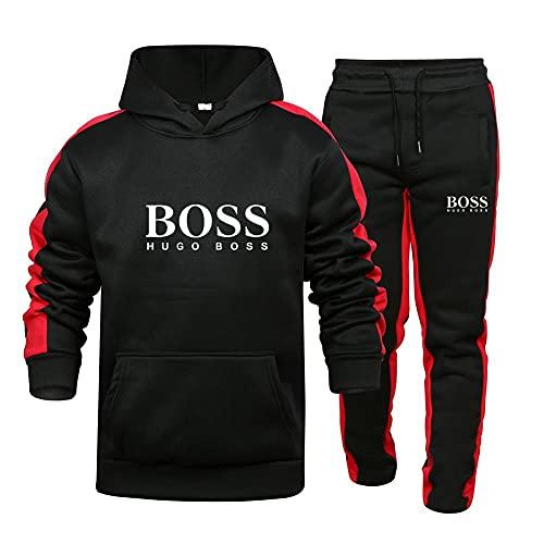 alaxdsd Hombre y Mujer Chándal para Bo_SS Rayas Suéter de Dos Piezas con Capucha Pantalones Ropa Deportiva Parte Superior/Black/M