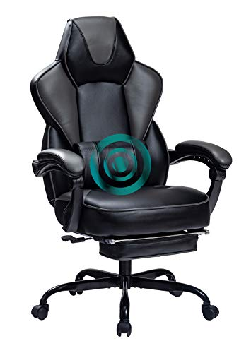 HEALGEN Gaming Chair with Footrest Ergonomic Racing Style Gaming Chair with Massage Lumbar Pillow Adjustable Swivel...