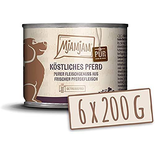 MjAMjAM Mangime Umido per Cani, Puro Cavallo Delizioso, senza Cereali - Pacco da 6 x 200 g