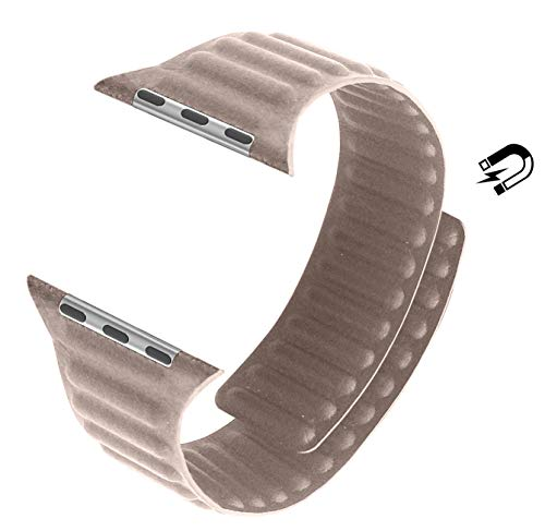 MaKer Cinturini Loop in Pelle con Chiusura Magnetica Compatibile con Apple Watch Series 6/SE/5/4/3 (44mm/42mm,Cachi)
