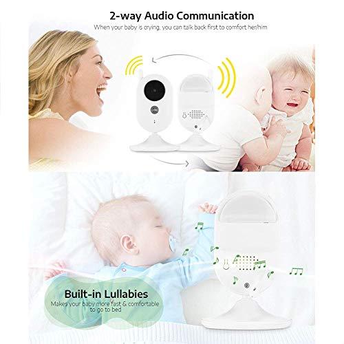 SWEET Moniteur pour Bébé avec 2 Caméras WiFi 8 Réglages De Langue Appels Vocaux Et Fonction De Vision Nocturne Technologie sans Fil 2.4Hz Améliorée 8 Berceaux Intégrés