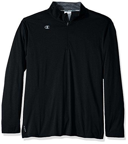 Champion Men's Quarter-Zip Double Dry Pullover, Black Heather, Large