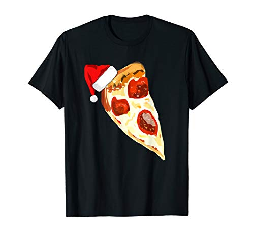 Funny Pizza Lover Santa Hat Christmas Pajama Pepperoni Gift T-Shirt