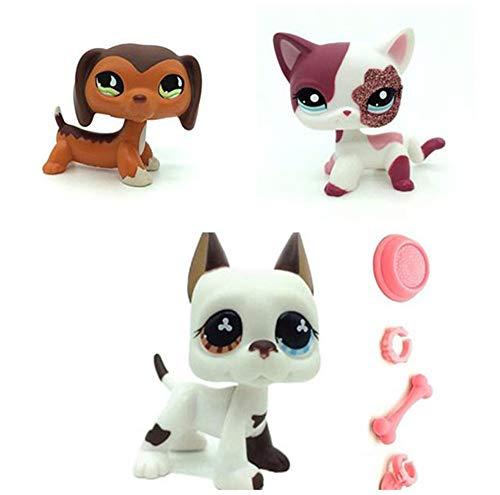 WooMax Pet Shop Juguete LPSs juguete naranja verde ojo salchicha + gato rosa brillante + perro blanco danés cachorro con 4 piezas de repuesto LPSs para niños y niñas regalo