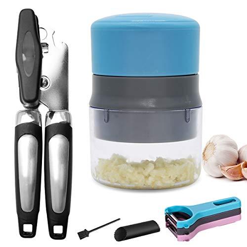 DOVAVA Dosenöffner, Knoblauchpresse, Schäler Set-3, Knoblauchschäler, Reinigungsbürste, Küchenhelfer Set-5 für Küchenutensilien Verwenden und Reinigung Knoblauch Walnuss Ingwer