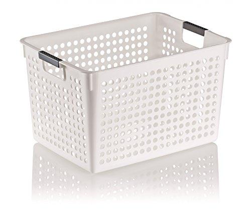 Kela Korb MIKA weiße Aufbewahrungskörbe, Aufbewahren + Ordnen, Bürohelfer, PP-Kunststoff - Größe wählbar, Größe:35.5x25.5x21.5cm