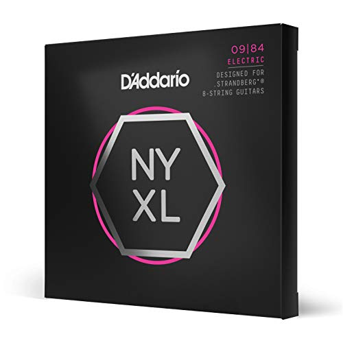 D Addario NYXL0984 - Corde avvolte in nickel per chitarra elettrica a 8 corde Strandberg, scalatura super leggera, 09-84