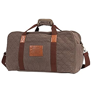 Malirona Canvas Weekender Bag Travel Duffel Bag for Weekend Overnight Trip (Brown)