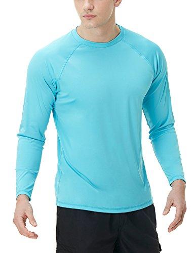 TSLA Camiseta de natación para hombre, UPF 50+, camiseta de manga larga holgada, secado rápido, Cool Running Workout SPF/UV, Hombre Niños Unisex niños, Mss03 1pack - A Sky Blue, extra-large