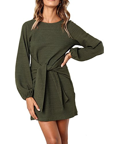 PRETTYGARDEN Women's Elegant Long Lantern Sleeve Short Dress Crewneck Tie Waist Knit Cocktail Dress Green