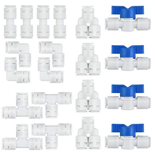 KLYNGTSK 20 Stück Wasserzulaufleitung Wasserfilter Fitting Universal Anschluss Set 1/4