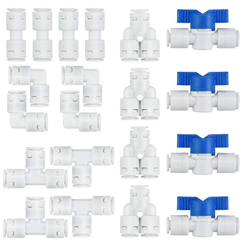 KLYNGTSK 20 PCS Conectores de Tubo Ósmosis Inversa Conectores de Empuje Recto Codo de Conexión de Pom para Purificador de Agua, Dispensador de Agua (I + T + L + Y+ Válvula de Cierre)