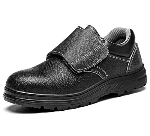 [ANGELCITY] メンズ 安全靴 先芯入り ローカット マジックテープ 革靴 労働保険靴 耐酸 耐アルカリ 衝撃吸収 作業靴 耐磨耗 短靴 通気 防水 快適 カジュアル つま先保護 A151 (26.0cm)