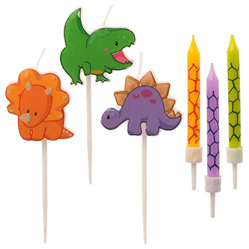 Dekora - Bougie Dinosaure, Bougies en Forme de Dinosaure - Bougies Anniversaire Enfant - 15 Bougies 345407 Multicolore