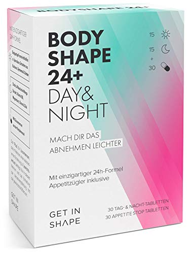 BODYSHAPE 24 Plus - Day and Night Tabletten + Appetite Stop Tabletten, mit Grüntee-Extrakt, Grüner Kaffee, Kurkuma, Glucomannan etc. von Get in Shape