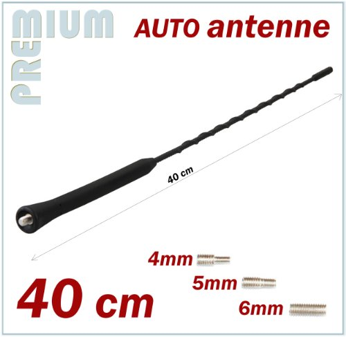 KFZ Antennenstab Universal INION® 40cm Stab Auto Antenne mit M4 M5 M6 Gewinde für SEAT --- Altea - Arosa - Cordoba - Exeo - Ibiza - Leon - Malaga - Marbella - Mii - Terra - Toledo -- Radio UKW / FM - Dachantenne