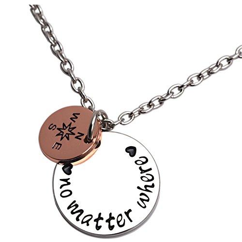 """LParkin - Collana con ciondolo a forma di bussola e frase """"No matter where"""", regalo per coppie a distanza e migliori amiche e Lega, colore: Necklace, cod. UK_B07BPSXKM7"""