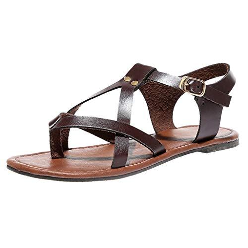 Luckycat Sandalias Mujer Verano 2019 Sandalias Romanas Boca de Pescado Mujer Sandalias Cuña Planas Verano Playa Tobillo Correa Sandalias de Fiesta Casuales Zapatos de Playa Baratas