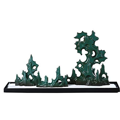 Hjyi Meditación Zen Garden,Jardin Zen Adornos De Piedra China Taiwán De Piedra Cerámica Decoración De Arte Zen Paisaje Seco Accesorios De Salón De Té