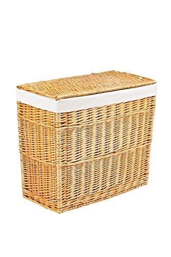 VIVANNO Wäschekorb Wäschesortierer Weide 'Grand' 60 cm hoch Honigfarbe