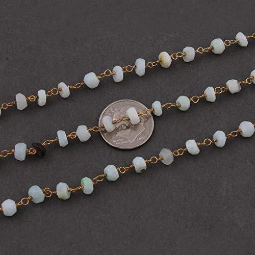 Kralen Edelsteen 5 Voeten Peru Opaal Rozenkrans Stijl Kralen Ketting - Peru Opaal Faceted Rondelle Kralen Wire Verpakt 24k Goud Vergulde Ketting 5mm Code-HIGH-12633