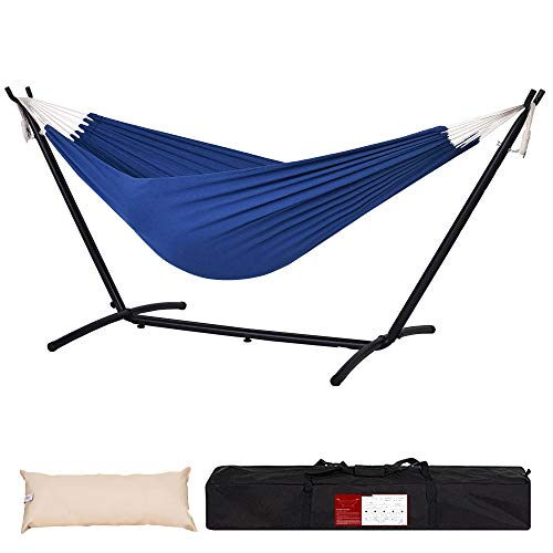 Lazy Daze Hammocks Double Canvas Hammock with 9FT Space Saving Steel Stand Includes Portable Carrying Bag and Head Pillow for Backyard Indoor Outdoor, 450 lbs Capacity, Dark Blue