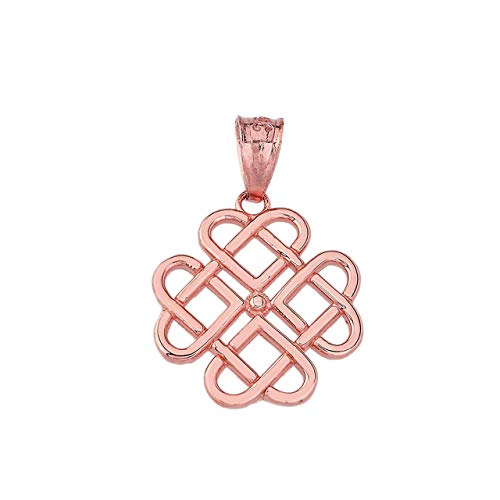 Certified 10k Rose Gold Endless Celtic Knot Heart Infinity Charm Pendant