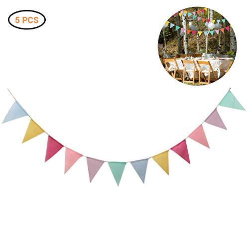 Kylewo Wimpelketting, 5 stuks, wimpelketting, wimpelslinger, buitendecoratie voor verjaardag, bruiloft, huis, baby shower party decoratie