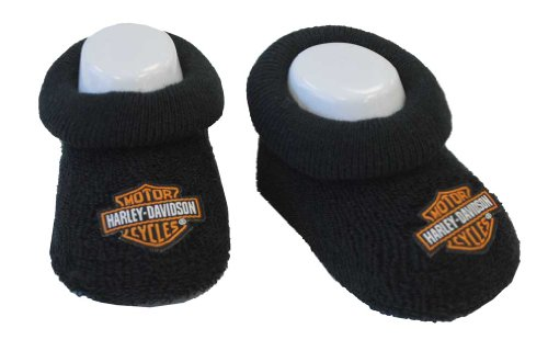 Harley-Davidson Baby Boys' Boxed Stretch Terry Booties, Black S9LBL20HD (0/3M)