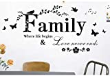 Large Family Quote Wall Sayings Decal Family Where Life Begins & Love Never Ends Removable Wall Art Decor Wall Sticker Quotes Mural DIY Vinyl Wall D¨Cor for Children's Room Home