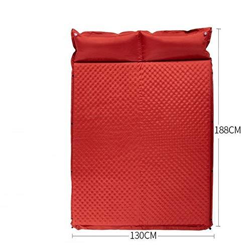 Yqs Isomatte Camping Schlafen Selbst-Aufblasen Matte Aufblasbare Luftmatratze Pad Schaum feuchtigkeitsbeständig Doppelmatratze im Zelt for Camping Pad (Color : Red Double)