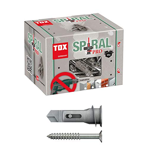 TOX Gipskartondübel Spiral Pro mit Senkkopfschraube 4,5 x 60 mm, Kippflügel für hohe Haltewerte in einlagigen Gipskartonplatten, 25 Stück, 068101051