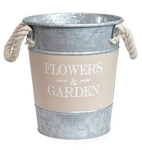 Flowers & Garden Vintage Übertopf Mit Griffe Metall Pflanzgefäß Kräutertopf 19cm (Beige)