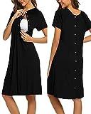 SUNNYME Nachthemd Damen Nachtwäsche Lange Geburt Stillnachthemd mit Knopf Geburtshemd für Schwangere Schwarz M