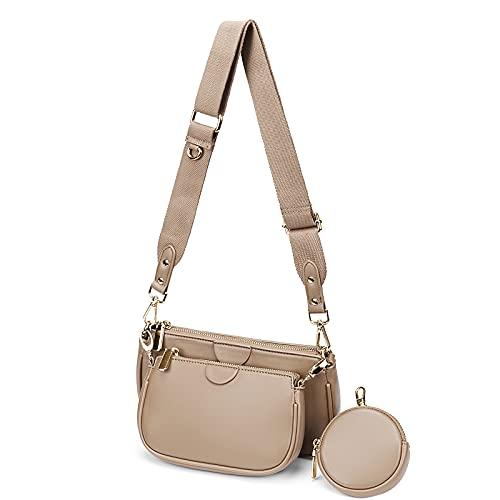 YALUXE Mehrzweck Umhängetasche Damen Multi Geldbörse PU Leder Reißverschluss Mode Handtaschen mit Münzbeutel Aprikose