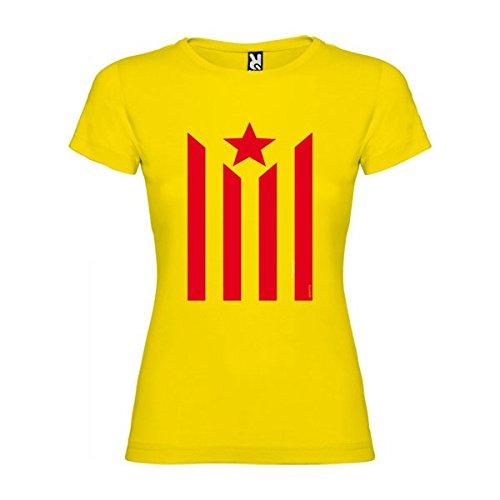 Camiseta Catalunya Estelada Manga Corta Mujer Amarillo S