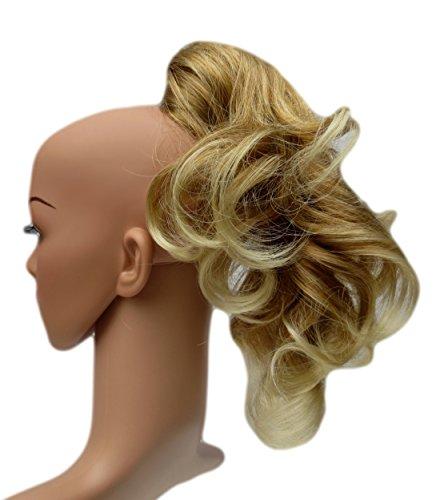 VANESSA GREY Toutes les couleurs disponibles, Petite Pince Extension De Cheveux Volumineuse Pour Queue De Cheval, Blond Vénitien Avec Base Plus Claire Décolorée