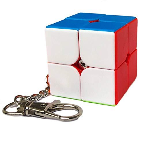 BestCube 2x2 Keychain Cube, stickerless Mini 2x2x2 Speed Cube with Keyring Gift
