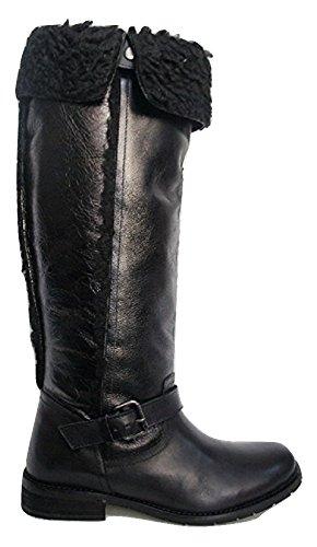 Carvela CE Que avec Doublure en Fourrure Cuir Boucle Bottes - Noir - Noir Profond,